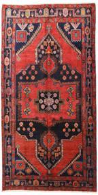 Hamadan Matta 160X313 Äkta Orientalisk Handknuten Hallmatta Mörkröd/Svart (Ull, Persien/Iran)
