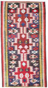 Kelim Fars Matta 190X360 Äkta Orientalisk Handvävd Svart/Ljusrosa (Ull, Persien/Iran)