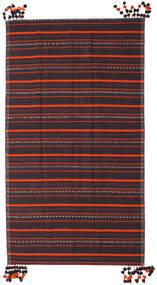 Kelim Fars Matta 205X365 Äkta Orientalisk Handvävd Mörkgrå/Mörkbrun (Ull, Persien/Iran)
