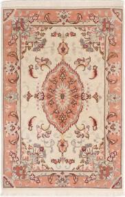 Tabriz 50 Raj Med Silke Matta 60X92 Äkta Orientalisk Handknuten Beige/Mörkbrun (Ull/Silke, Persien/Iran)