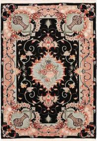 Tabriz 50 Raj Med Silke Matta 67X95 Äkta Orientalisk Handknuten Svart/Ljusgrå (Ull/Silke, Persien/Iran)