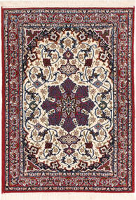 Isfahan Silkesvarp Matta 70X98 Äkta Orientalisk Handknuten Mörkröd/Mörklila (Ull/Silke, Persien/Iran)