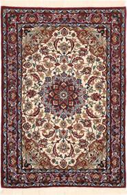 Isfahan Silkesvarp Matta 71X102 Äkta Orientalisk Handknuten Mörkbrun/Mörkröd (Ull/Silke, Persien/Iran)