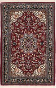 Isfahan Silkesvarp Matta 67X106 Äkta Orientalisk Handknuten Mörkröd/Svart (Ull/Silke, Persien/Iran)