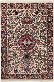 Isfahan Silkesvarp Matta 83X117 Äkta Orientalisk Handknuten Mörkbrun/Ljusgrå (Ull/Silke, Persien/Iran)