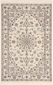 Nain 9La Sherkat Farsh Matta 81X122 Äkta Orientalisk Handknuten Ljusgrå/Beige (Ull/Silke, Persien/Iran)