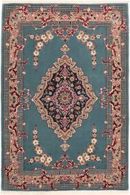 Isfahan Silkesvarp Matta 85X123 Äkta Orientalisk Handknuten Turkosblå/Svart (Ull/Silke, Persien/Iran)