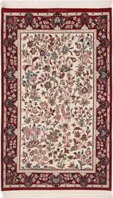 Isfahan Silkesvarp Matta 80X128 Äkta Orientalisk Handknuten Mörkröd/Beige (Ull/Silke, Persien/Iran)