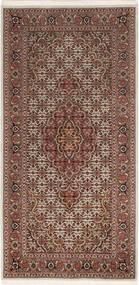 Tabriz 50 Raj Matta 67X140 Äkta Orientalisk Handknuten Mörkbrun/Mörkröd (Ull/Silke, Persien/Iran)