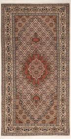 Tabriz 50 Raj Matta 70X142 Äkta Orientalisk Handknuten Mörkbrun/Mörkröd (Ull/Silke, Persien/Iran)