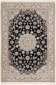 Nain 6La Matta 102X148 Äkta Orientalisk Handknuten Ljusgrå/Svart (Ull/Silke, Persien/Iran)