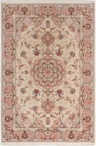 Tabriz 50 Raj Med Silke Matta 100X152 Äkta Orientalisk Handknuten Ljusgrå/Mörkröd (Ull/Silke, Persien/Iran)