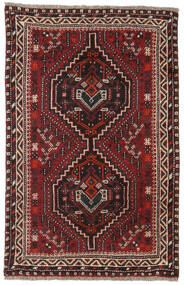 Shiraz Matta 81X124 Äkta Orientalisk Handknuten Mörkröd/Mörkbrun (Ull, Persien/Iran)