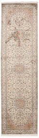 Kashmir Äkta Silke Matta 84X300 Äkta Orientalisk Handknuten Hallmatta Ljusgrå/Vit/Cremefärgad (Silke, Indien)