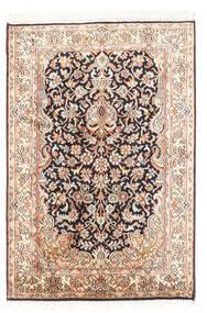 Kashmir Äkta Silke Matta 63X94 Äkta Orientalisk Handknuten Beige/Mörkgrå (Silke, Indien)