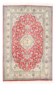 Kashmir Äkta Silke Matta 61X93 Äkta Orientalisk Handknuten Vit/Cremefärgad/Ljusgrå (Silke, Indien)