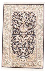 Kashmir Äkta Silke Matta 63X97 Äkta Orientalisk Handknuten Vit/Cremefärgad/Ljusgrå (Silke, Indien)