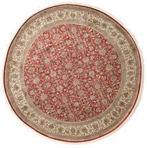 Kashmir Äkta Silke Matta Ø 245 Äkta Orientalisk Handknuten Rund Ljusbrun/Ljusgrå (Silke, Indien)