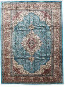 Kashmir Art. Silke Matta 276X370 Äkta Orientalisk Handknuten Ljusgrå/Svart Stor ( Indien)
