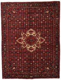 Hosseinabad Matta 163X214 Äkta Orientalisk Handknuten Mörkröd (Ull, Persien/Iran)