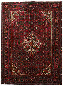 Hosseinabad Matta 163X220 Äkta Orientalisk Handknuten Mörkröd (Ull, Persien/Iran)