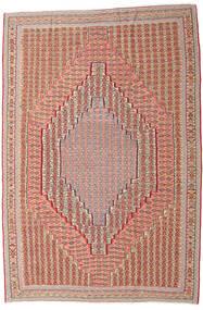 Kelim Senneh Matta 203X306 Äkta Orientalisk Handvävd Mörkröd/Ljusbrun (Ull, Persien/Iran)