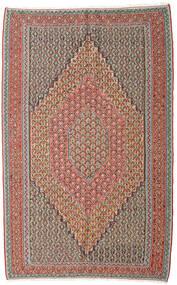 Kelim Senneh Matta 152X245 Äkta Orientalisk Handvävd Ljusgrå/Mörkröd (Ull, Persien/Iran)