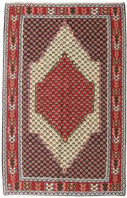 Kelim Senneh Matta 127X202 Äkta Orientalisk Handvävd Mörkbrun/Mörkröd (Ull, Persien/Iran)