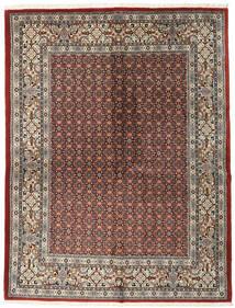 Moud Matta 151X198 Äkta Orientalisk Handknuten Ljusgrå/Mörkröd (Ull/Silke, Persien/Iran)