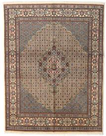 Moud Matta 150X194 Äkta Orientalisk Handknuten Ljusbrun/Ljusgrå/Mörkgrå (Ull/Silke, Persien/Iran)