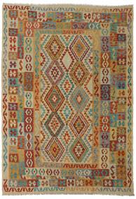 Kelim Afghan Old Style Matta 206X295 Äkta Orientalisk Handvävd Mörkröd/Ljusbrun (Ull, Afghanistan)