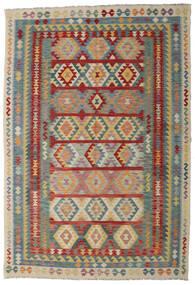 Kelim Afghan Old Style Matta 200X296 Äkta Orientalisk Handvävd Mörkröd/Ljusgrå (Ull, Afghanistan)