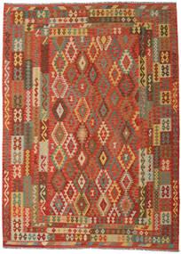 Kelim Afghan Old Style Matta 249X344 Äkta Orientalisk Handvävd Orange/Mörkbeige (Ull, Afghanistan)