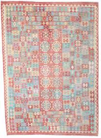 Kelim Afghan Old Style Matta 210X295 Äkta Orientalisk Handvävd Ljusgrå/Ljusrosa (Ull, Afghanistan)