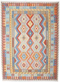 Kelim Afghan Old Style Matta 212X290 Äkta Orientalisk Handvävd Ljusgrå/Mörkbeige (Ull, Afghanistan)
