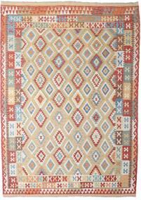 Kelim Afghan Old Style Matta 206X294 Äkta Orientalisk Handvävd Ljusgrå/Mörkröd (Ull, Afghanistan)