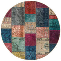 Patchwork - Persien/Iran Matta Ø 150 Äkta Modern Handknuten Rund Mörkgrå/Ljusbrun (Ull, Persien/Iran)