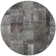 Patchwork - Persien/Iran Matta Ø 150 Äkta Modern Handknuten Rund Mörkgrå/Ljusgrå (Ull, Persien/Iran)