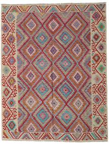 Kelim Afghan Old Style Matta 261X336 Äkta Orientalisk Handvävd Mörkröd/Ljusgrå Stor (Ull, Afghanistan)