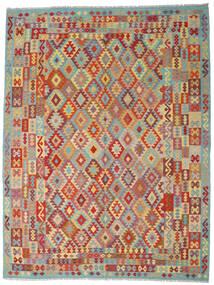 Kelim Afghan Old Style Matta 267X348 Äkta Orientalisk Handvävd Mörkröd/Mörkgrå Stor (Ull, Afghanistan)