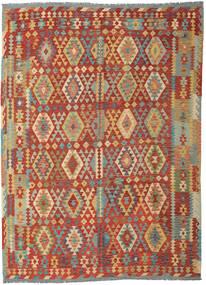 Kelim Afghan Old Style Matta 253X348 Äkta Orientalisk Handvävd Mörkröd/Mörkbeige Stor (Ull, Afghanistan)