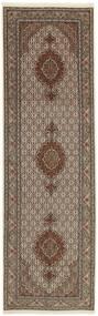 Tabriz 50 Raj Matta 88X295 Äkta Orientalisk Handvävd Hallmatta Ljusgrå/Brun (Ull/Silke, Persien/Iran)