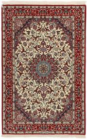 Isfahan Silkesvarp Matta 110X168 Äkta Orientalisk Handvävd Mörkröd/Ljusgrå (Ull/Silke, Persien/Iran)