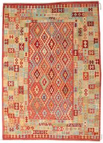 Kelim Afghan Old Style Matta 246X341 Äkta Orientalisk Handvävd Mörkbeige/Roströd (Ull, Afghanistan)