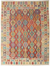 Kelim Afghan Old Style Matta 261X342 Äkta Orientalisk Handvävd Mörkröd/Ljusbrun Stor (Ull, Afghanistan)