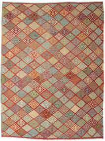 Kelim Afghan Old Style Matta 263X347 Äkta Orientalisk Handvävd Mörkröd/Ljusgrå Stor (Ull, Afghanistan)