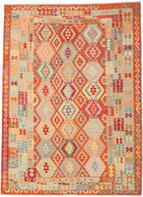 Kelim Afghan Old Style Matta 246X335 Äkta Orientalisk Handvävd Mörkbeige/Röd (Ull, Afghanistan)