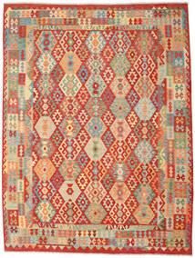 Kelim Afghan Old Style Matta 262X347 Äkta Orientalisk Handvävd Roströd/Mörkbeige Stor (Ull, Afghanistan)