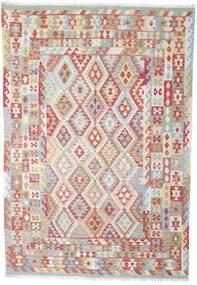 Kelim Afghan Old Style Matta 202X294 Äkta Orientalisk Handvävd Ljusgrå/Brun (Ull, Afghanistan)