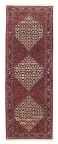 Bidjar Med Silke Matta 83X242 Äkta Orientalisk Handvävd Hallmatta Mörkröd/Brun (Ull/Silke, Persien/Iran)